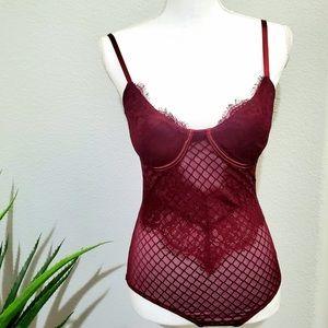 Burgandy Lace Bodysuit